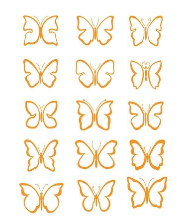 cute tattoo: Big set butterfly Illustration