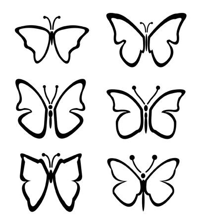 contorno: conjunto de Ilustraci�n de la mariposa