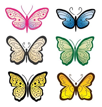 set butterflies - illustration Stock Vector - 12888521