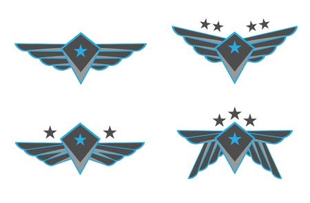estrellas  de militares: Alas Ilustración Vector