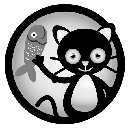Cat happy Circle Banner Vector