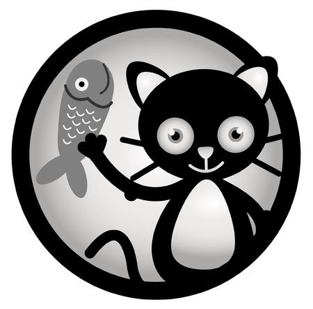 Cat happy Circle Banner Vector