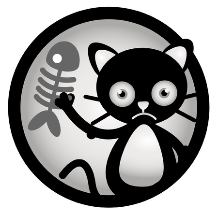 Cat Sad Circle Banner Vector