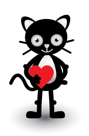 Cat Love Sign Vector