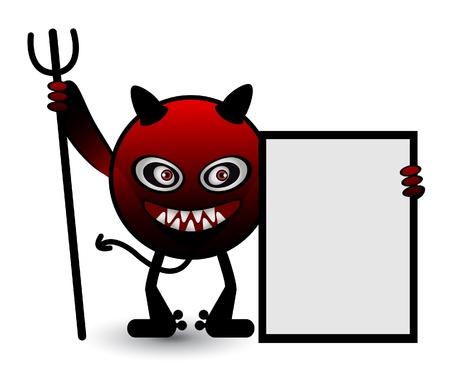 diable rouge: Banni�re rouge du Diable Illustration