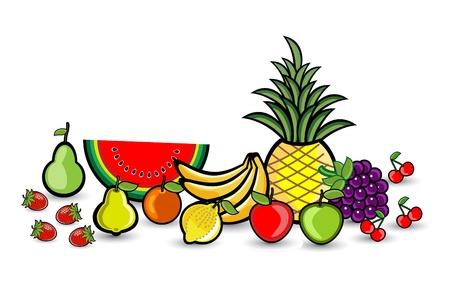 Smile Fruits Group Illustration