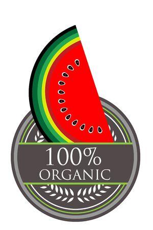 Watermelon Organic label Vector