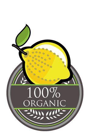 fruited: Lemon Organic label Illustration
