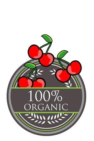 Cherry Organic label Vector