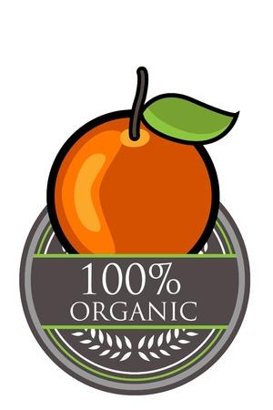 Orange Organic label Vector