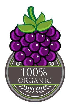 Grape Organic label Vector