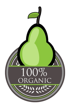 Pear Organic label Vector