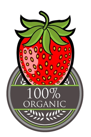 Strawberry Organic label Vector