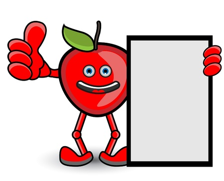 Red Apple Banner Thumb Up Pose Vector