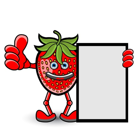 Strawberry Banner Thumb Up Pose Vector