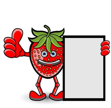 strawberry cartoon: Strawberry Banner Thumb Up Pose Illustration