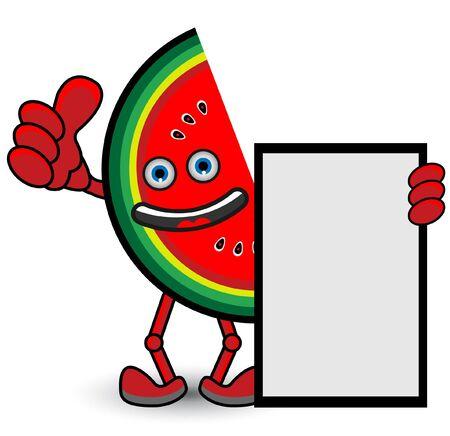 Watermelon Banner Thumb Up Pose Vector