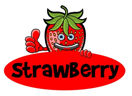 strawberry cartoon: Smile Strawberry Banner Illustration