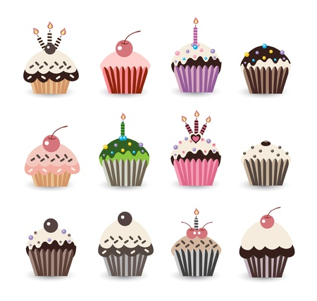 Funny Cupcake Birthday Smile Vector