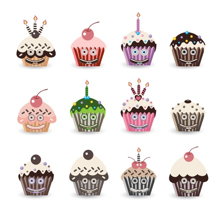Funny Cupcake Birthday Vector