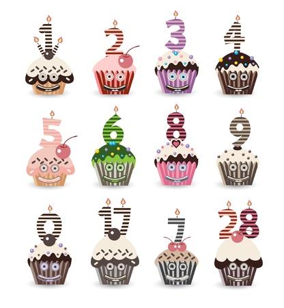 cyfra: Śmieszne Smile Cupcake na urodziny ze świeczkami Liczba Ilustracja