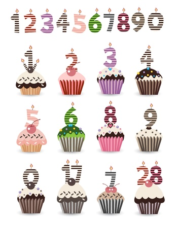 number candles: Cupcake de cumplea�os con velas N�mero Vectores
