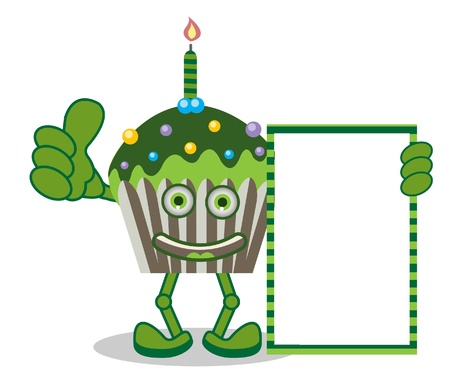 Green Smile Cupcake Vector