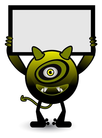 Yellow monster banner Stock Vector - 13689383