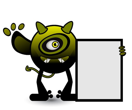 Yellow Cyclops monster banner Vector