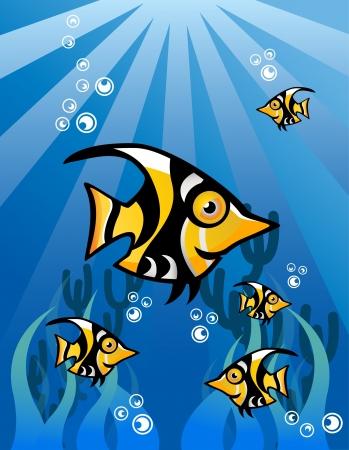 Black Yellow Fish Character Underwater Stock Vector - 13690044