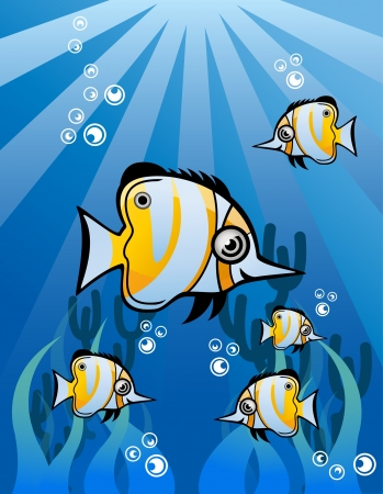 Yellow White Tropical Fish Group Vector