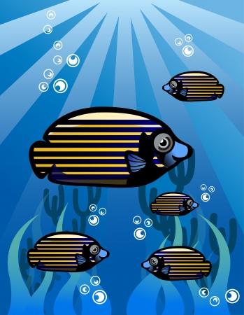 Strip Tropical Fish Vector