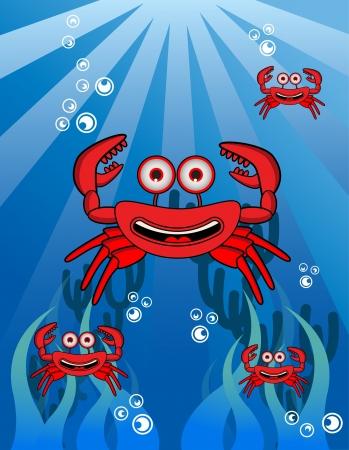 Crab Group Underwater Vector