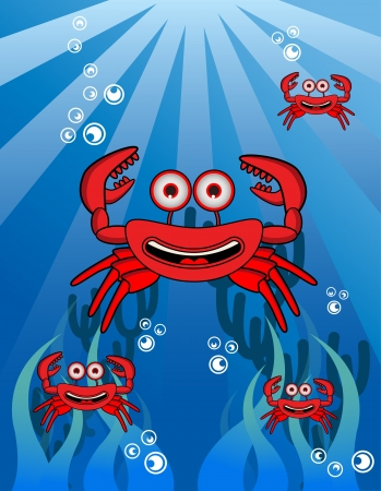 cancer crab: Crab Group Underwater Illustration