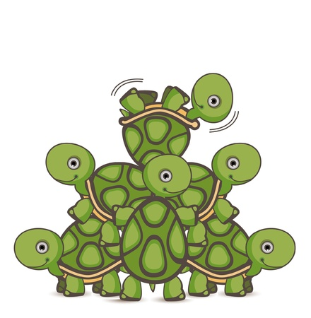 Turtle Teamwork Vector