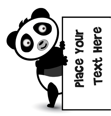 cute bear panda banner Vector