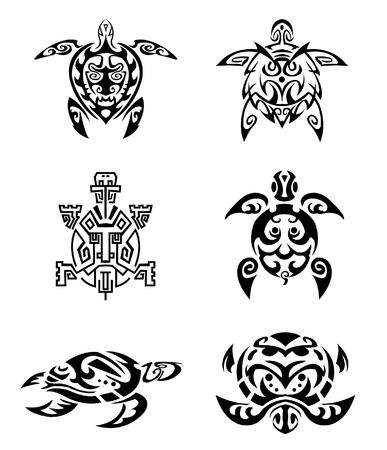 Turtle tattoo set Vector