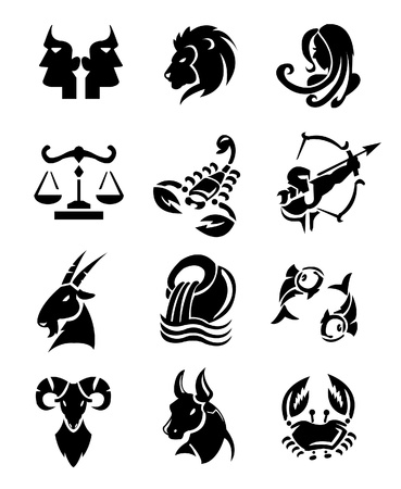 signs of the zodiac: zodiac signs sets Illustration