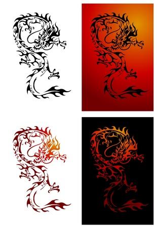 tribal dragon: Dragon Illustrator