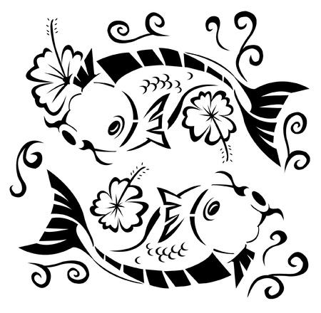 ornamental fish: giapponese koi Vettoriali