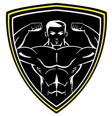 trizeps: Bodybuilding-Maskottchen Illustration