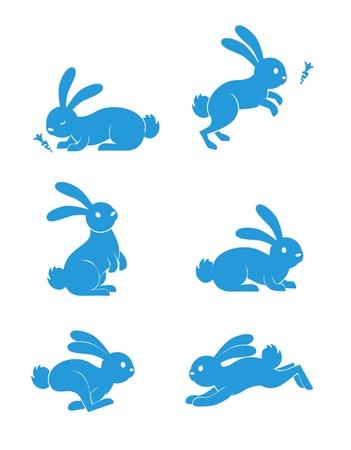 conejo caricatura: Conejo Set Vectores