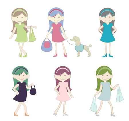 Cute Girl Shopping Cartoon Stock Vector - 14392076