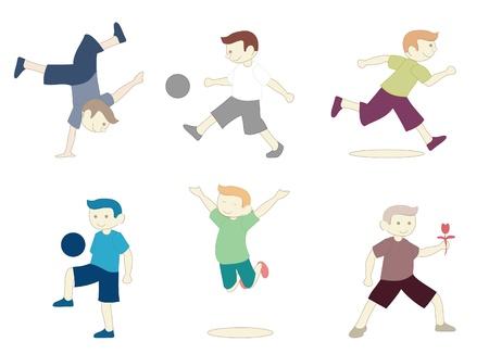 kids exercise: Boys Activity Illustration