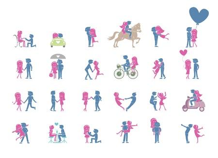 happiness people: 24 Couple pose Set Illustration Illustration