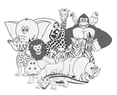 Wild Animals Group Show Vector