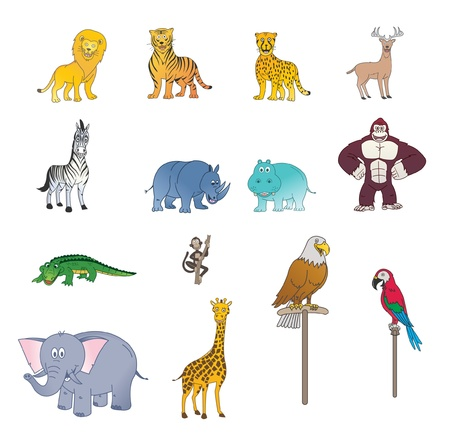 Set Of Wild Animal Color Vector