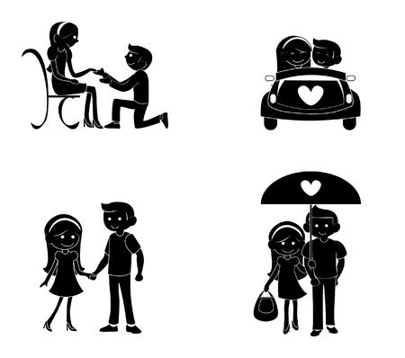 couple silhouette Stock Vector - 14669241