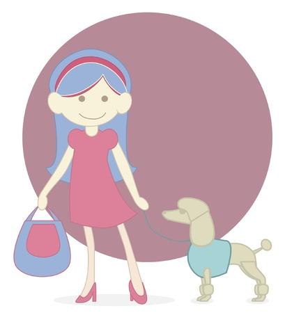 shop tender: Girl Shopping   Dog
