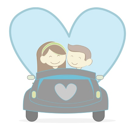two hearts together: Couple with Car Illustration